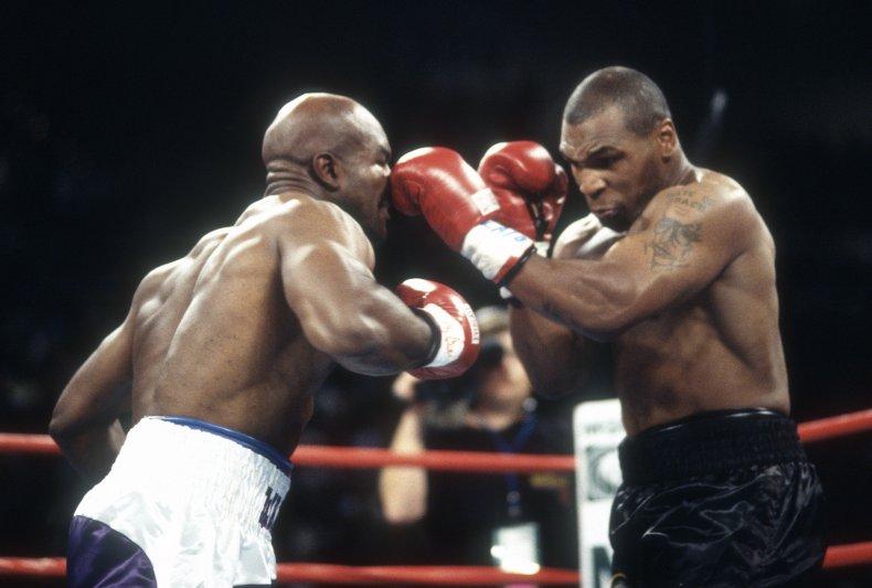 Evander Holyfield against Mike Tyson