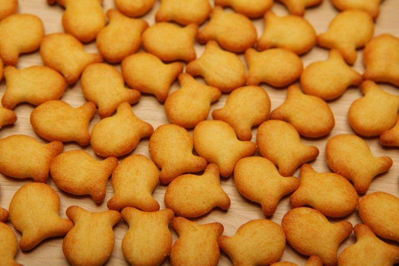 Stock image of a goldfish cracker