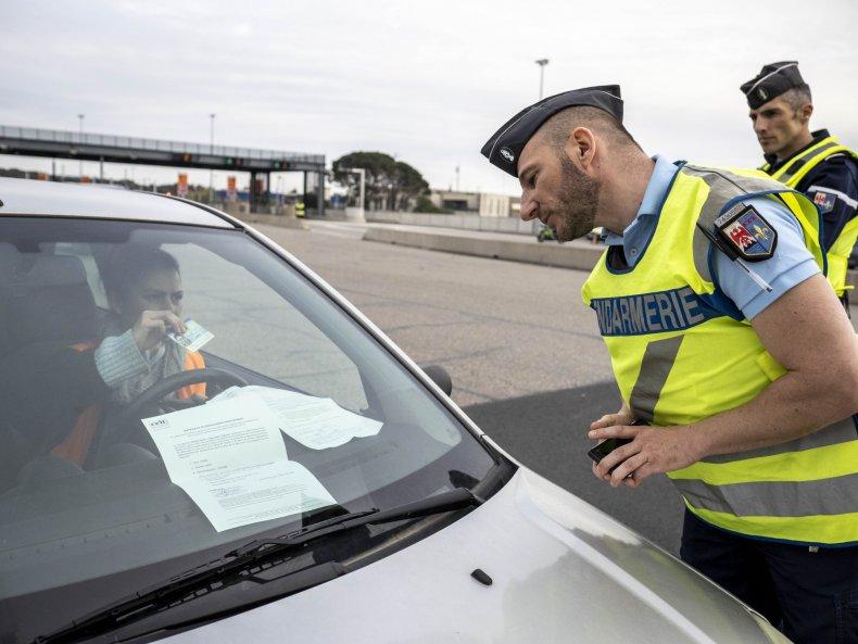 French gendarmes in Avignon checking a car