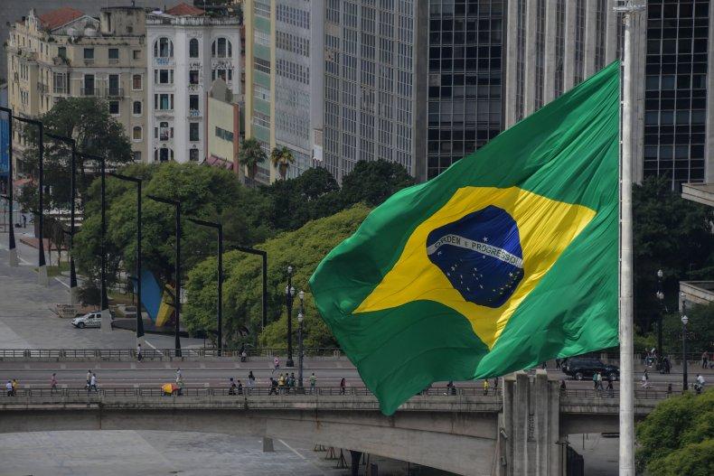 View of Brazilian flag in São Paulo