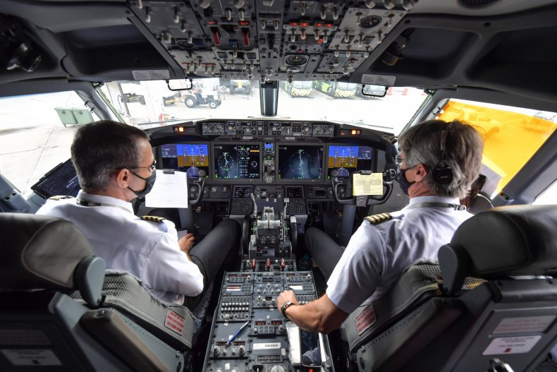 Pilots on a Boeing 737 MAX aircraft.