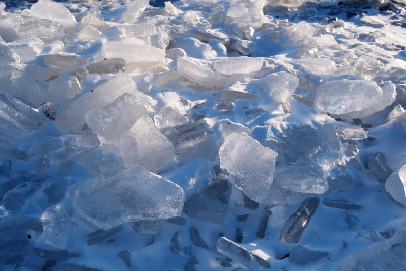 Large ice chunks seen in Kenosha, Wisconsin.