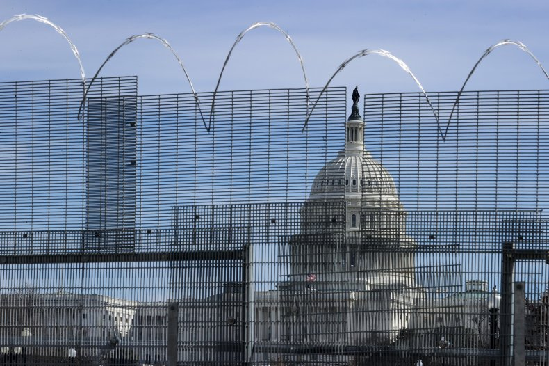 temporary security fence surrounds the U.S. Capitol