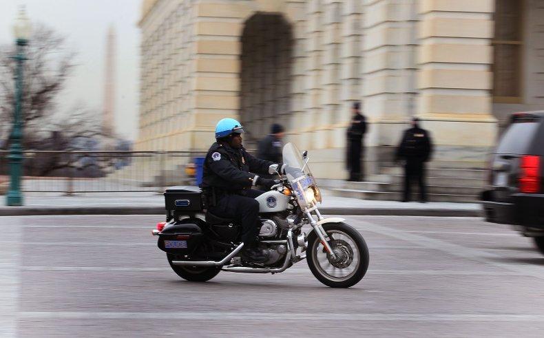 Capitol police motorcycle van crash hospitalized injured