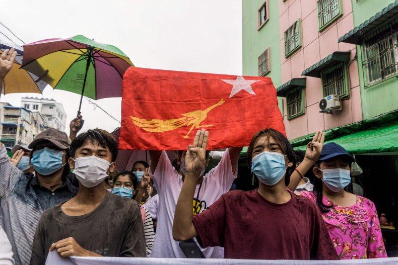 Protesters in Yangon, Myanmar