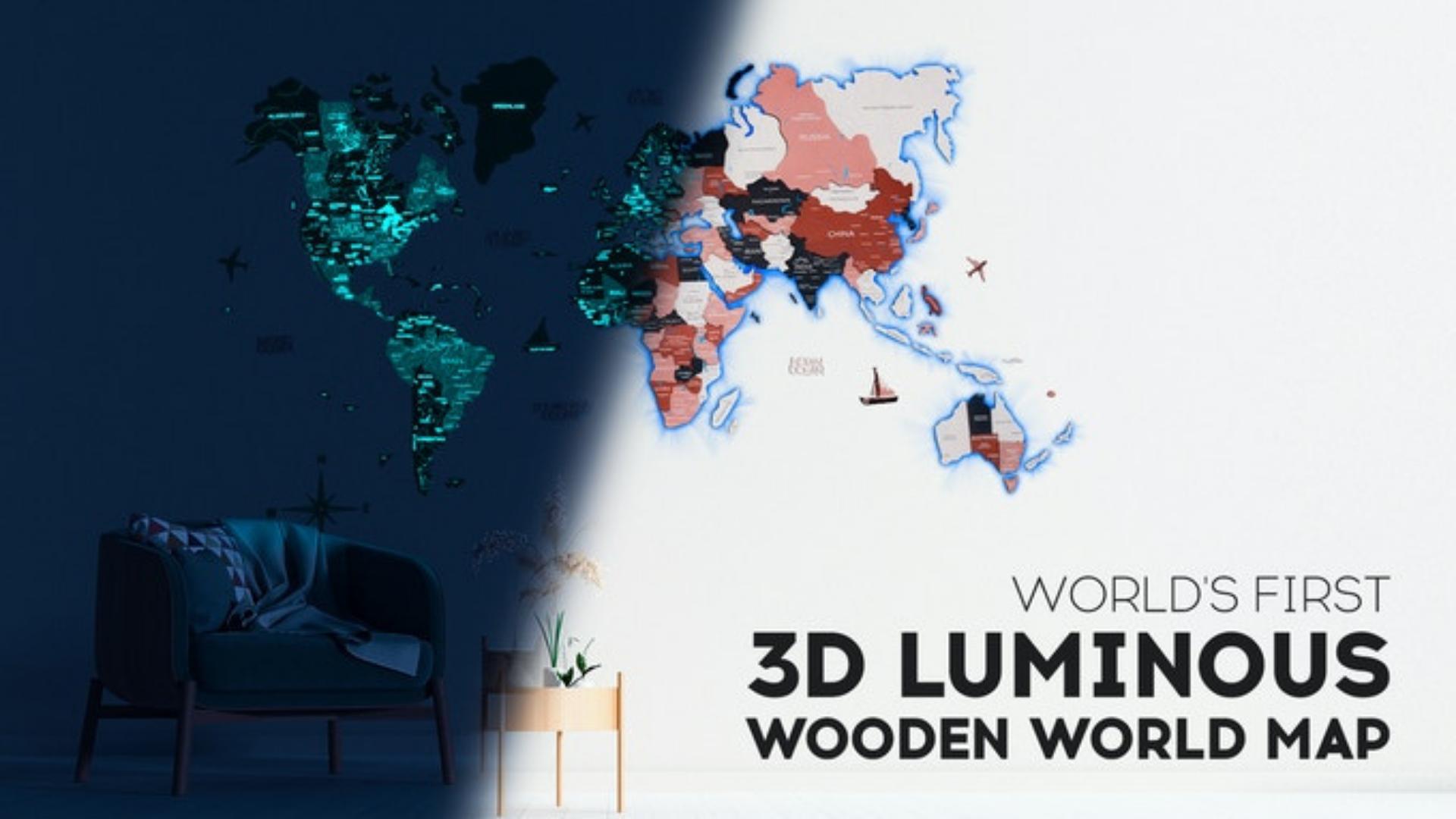 3D Luminous Wooden World Map