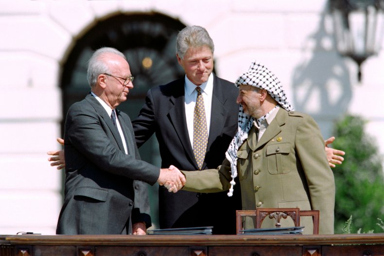 Bill Clinton with Arafat and Rabin