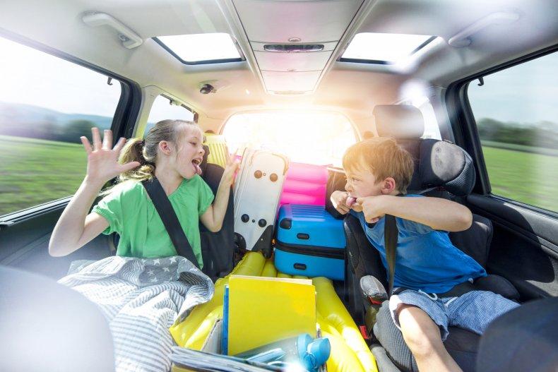 siblings fighting in a car
