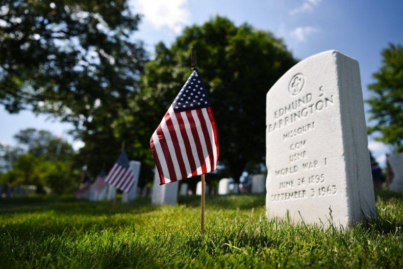 A grave at Virginia's Arlington National Cemetery.
