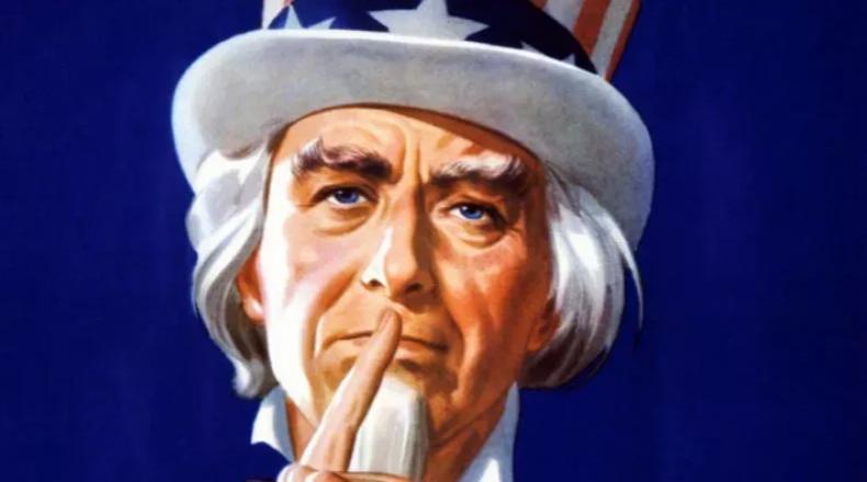 Uncle Sam shushes in propaganda poster