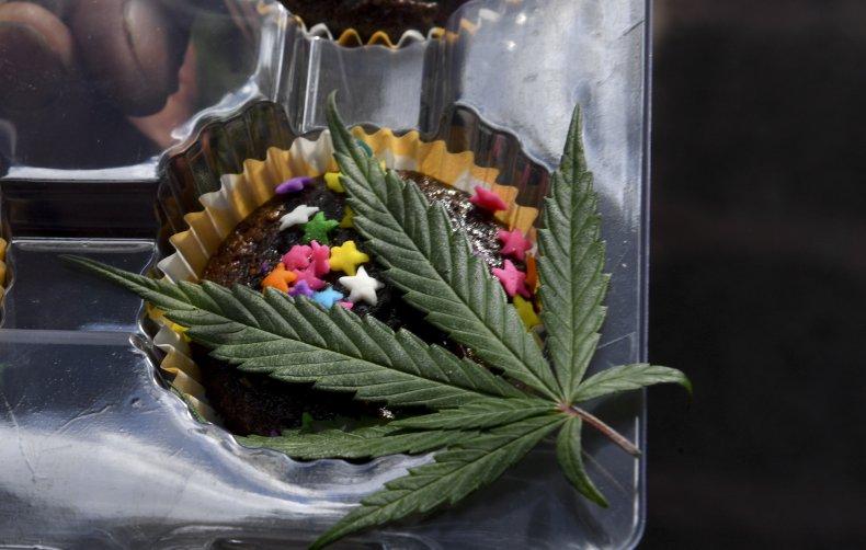CNR: A marijuana leaf drapes a brownie.