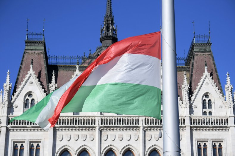 A giant Hungarian national flag