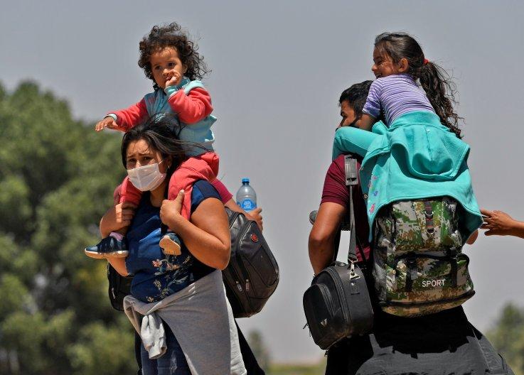 Migrant families at Mexico border
