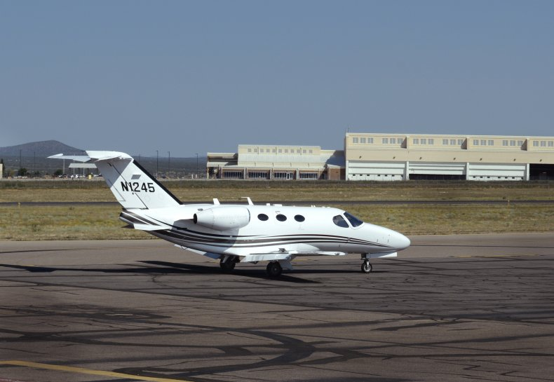 Cessna private jet prepares to take off