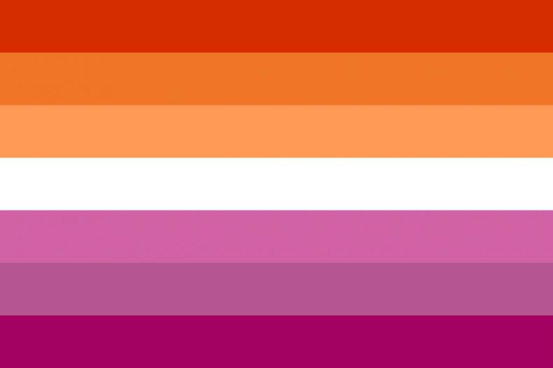 The lesbian pride flag designed in 2018.