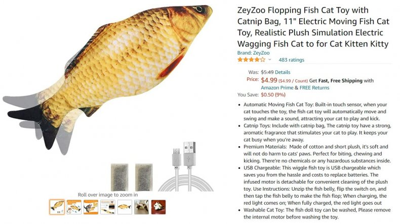 Product shot of fish toy for cats