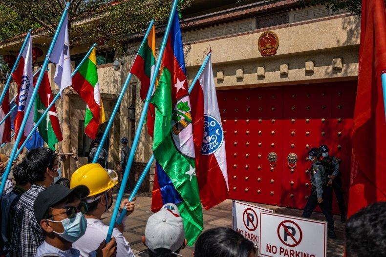 Myanmar, protests, at, Chinese, embassy, Yangon