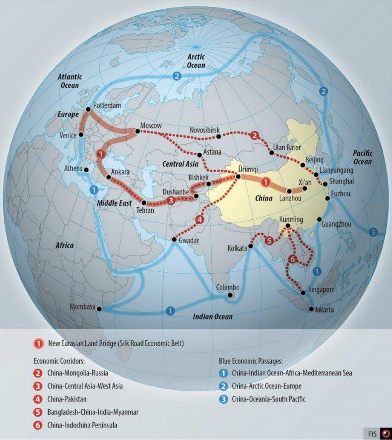 China, Belt, Road, Initiative, map