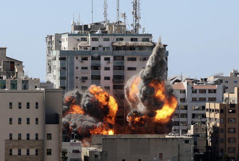 Al-Jalaa tower in Gaza destroyed Israeli airstrike