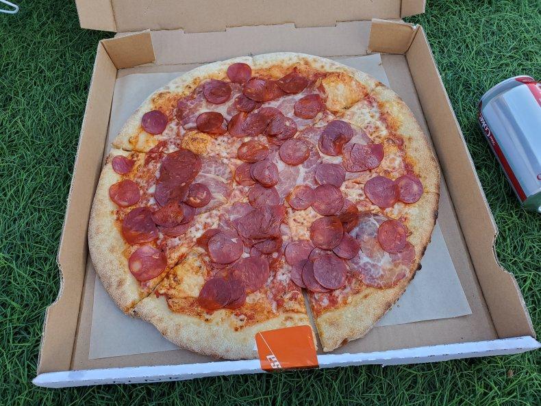 Pizza on grass