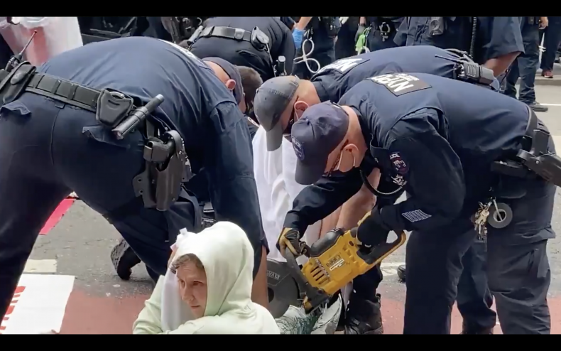 New York Police Officers Buzz Saw Protesters