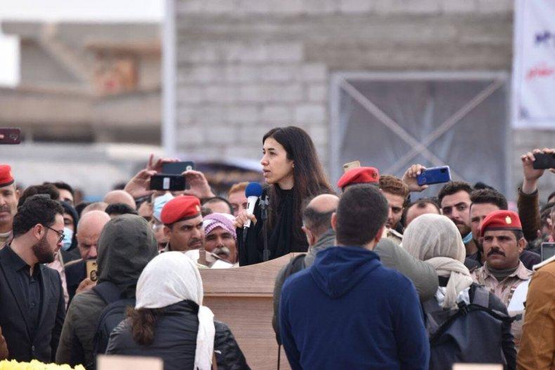 Nadia Murad speaking at the Kocho burial