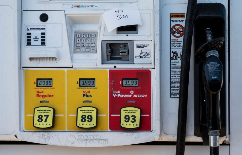 Pumps are empty at a gas station