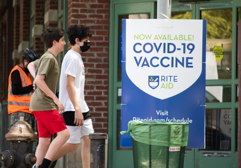A COVID-19 vaccine sign in NYC.
