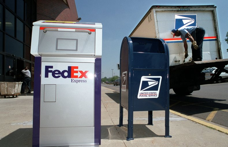 A FedEx box and USPS box