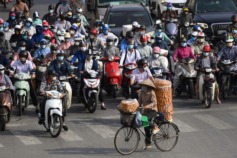 Masked Traffic in Hanoi Vietnam