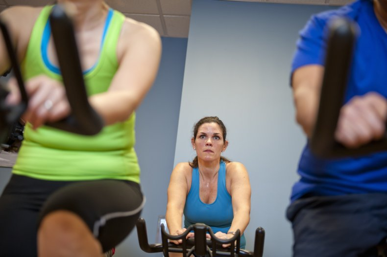 People at exercise bike class