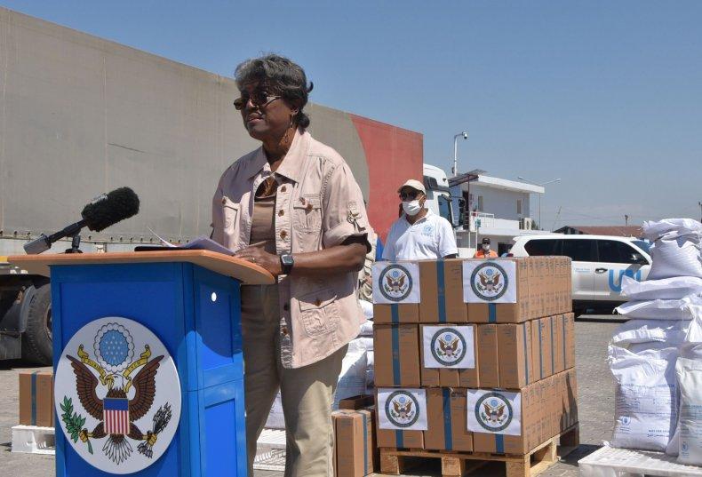 U.S. Ambassador Linda Thomas-Greenfield at Bab al-Hawa