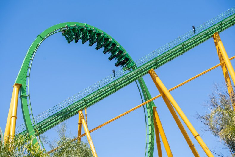 A rollercoaster at California's Six Flags park.