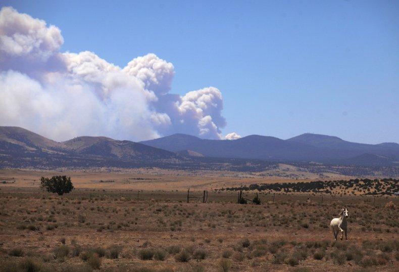 Smoke from a wildfire in Arizona