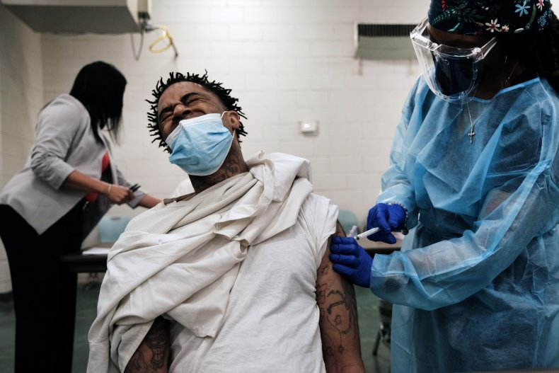 An inmate getting vaccinated in Mississippi.