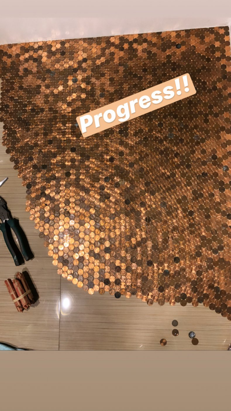 Jordan Darian's bathroom floor covered in pennies