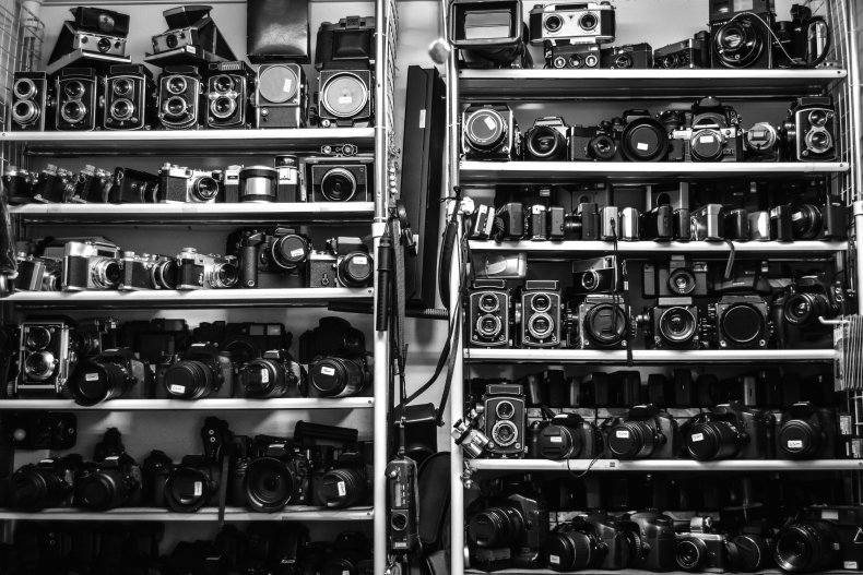 Vintage cameras in a store