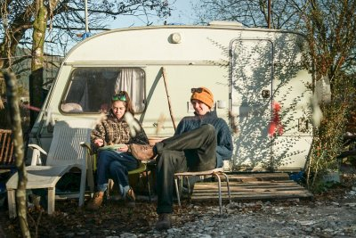 Claire and Cals caravan outside their home