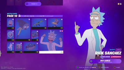 A Rick and Morty page in Fortnite