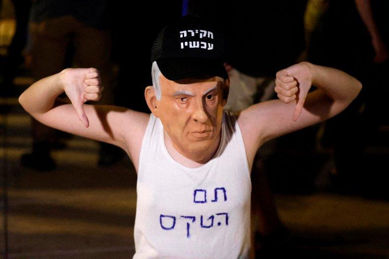 Israel protester supporting coalition against Benjamin Netanyahu