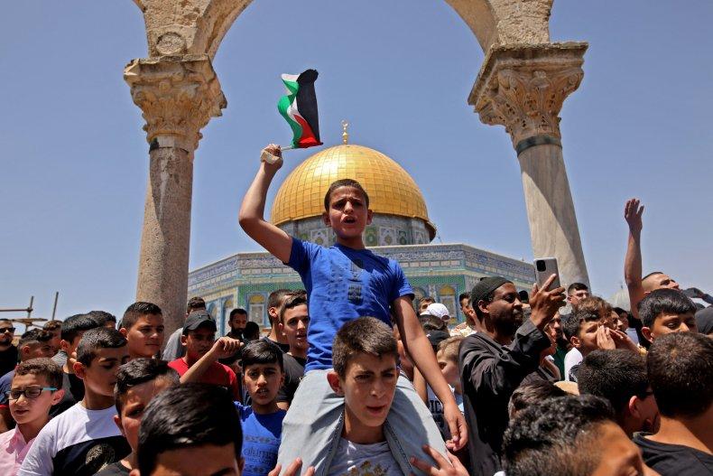 Palestinians protest at the Al-Aqsa mosque Jerusalem