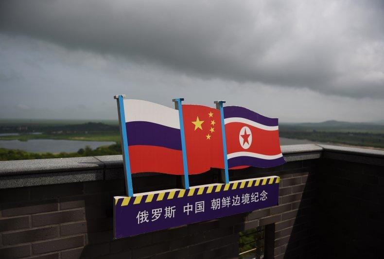Russia, China, North, Korea, flags, border
