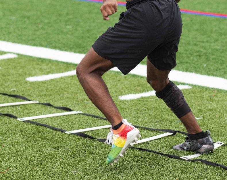 Athlete performing drills