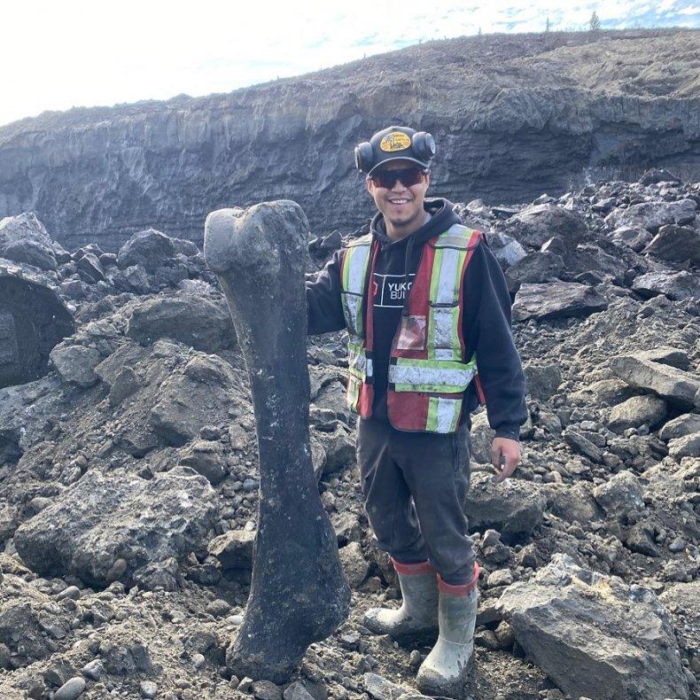 Trey with mammoth bone
