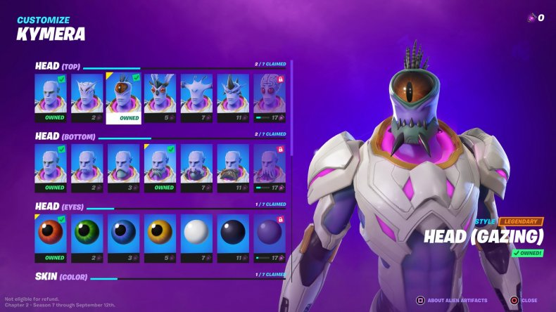 A Menu for Customizing Your Kymera Character