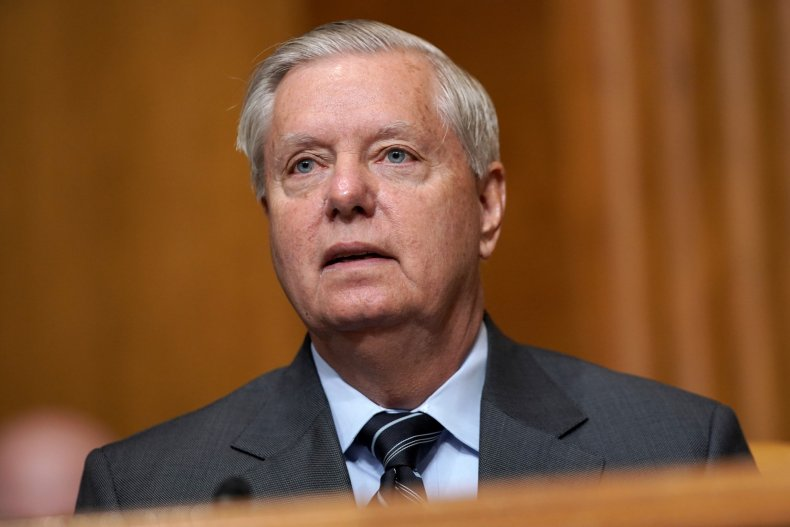 Lindsey Graham Arrives at a Senate Committee