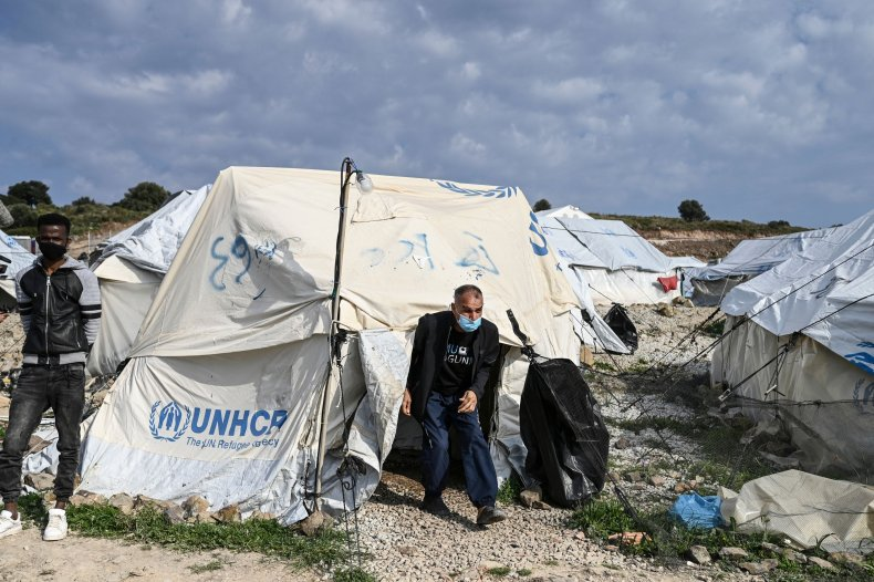 Migrant Tent at Refugee Camp in Greece