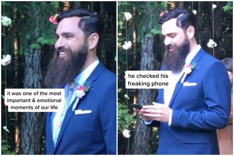 Groom Checks Phone TikTok
