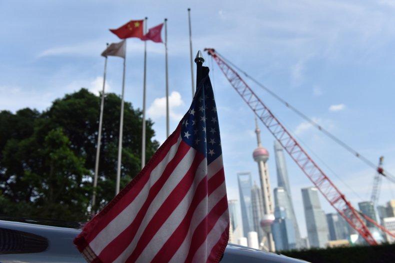 US, flag, convoy, Chinese, flags, Shanghai