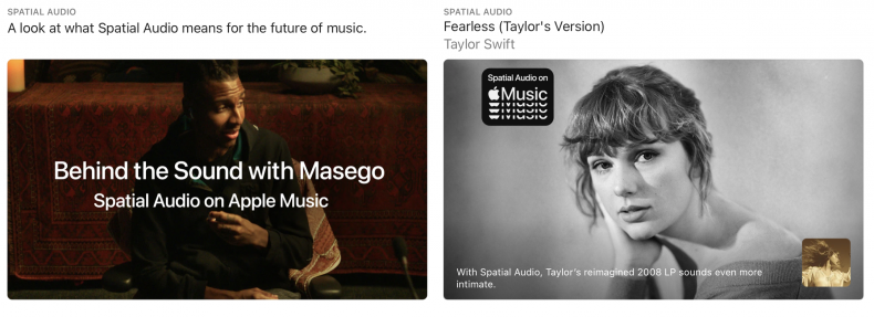 Apple Music app advertising Spatial Audio